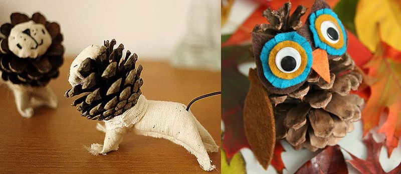 Pine Cone Lion and Pine cone Owl