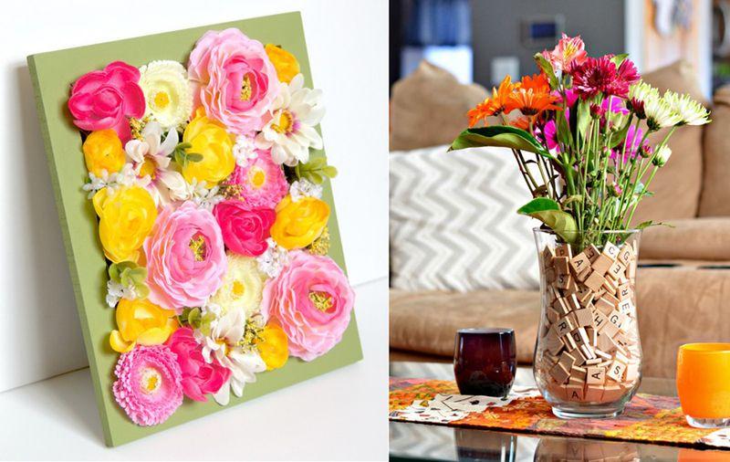 Scrabble vase, flower filled frame
