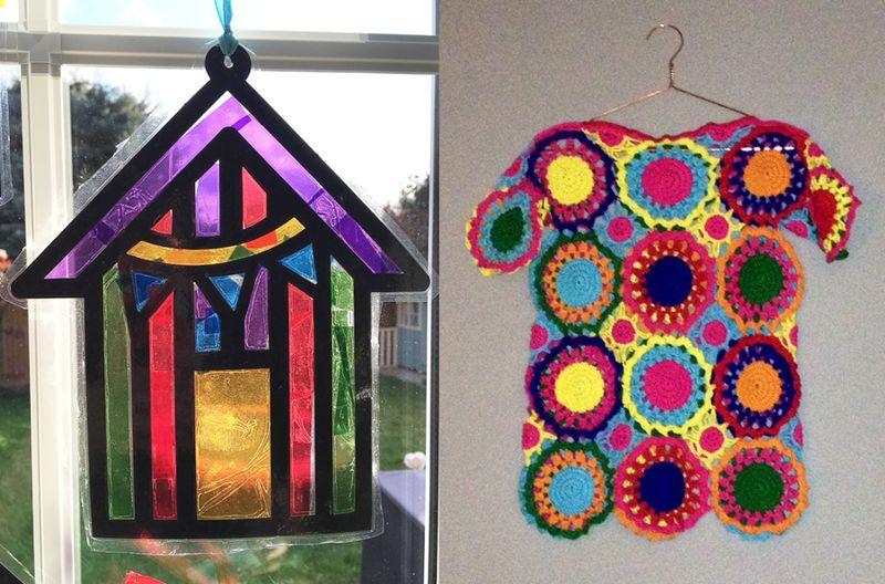 Kids sun catcher craft,crocheted medallions sweater