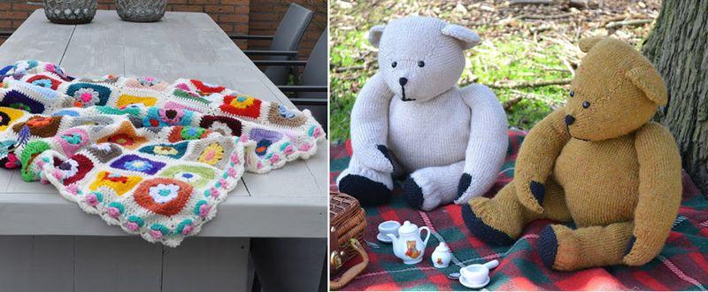 Knit teddy bear,crocheted flower center squares blanket