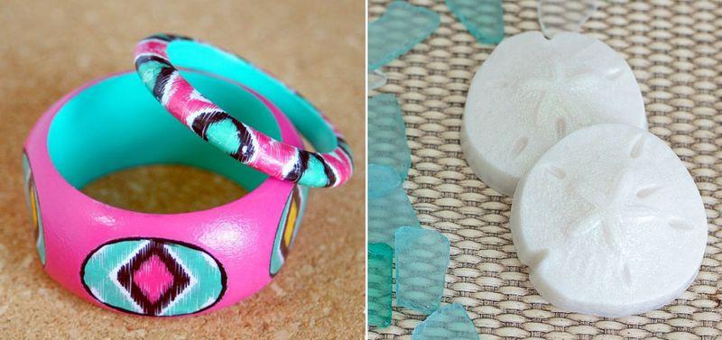 Sanddollar soap, ikat bracelet
