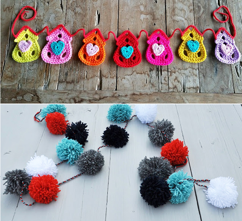 Pom pom garland,crocheted little house garland
