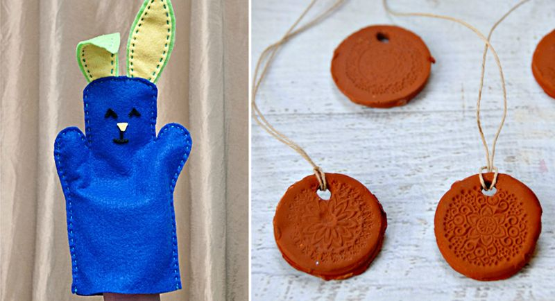 Felt bunny puppet,clay essential oil pendants