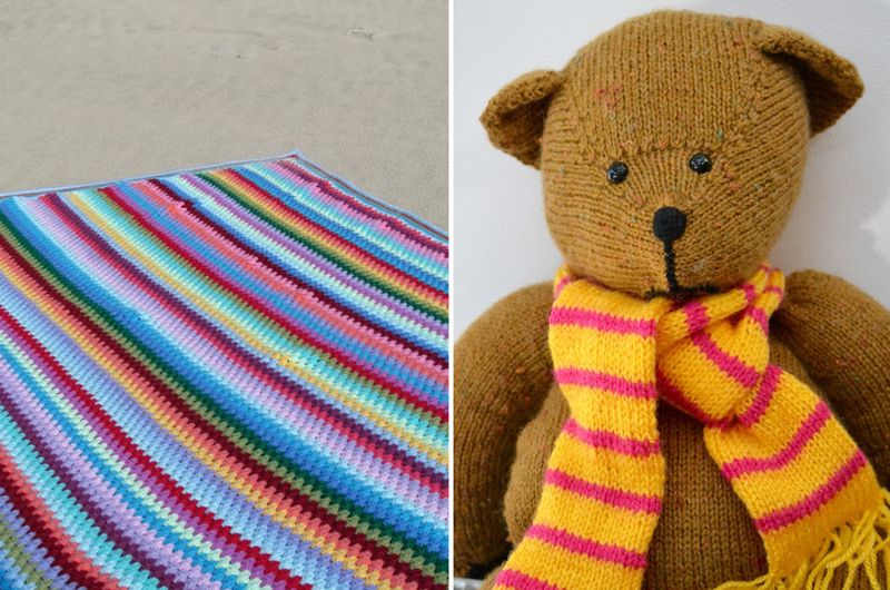 Knit Teddy bear, granny stripes crocheted blanket