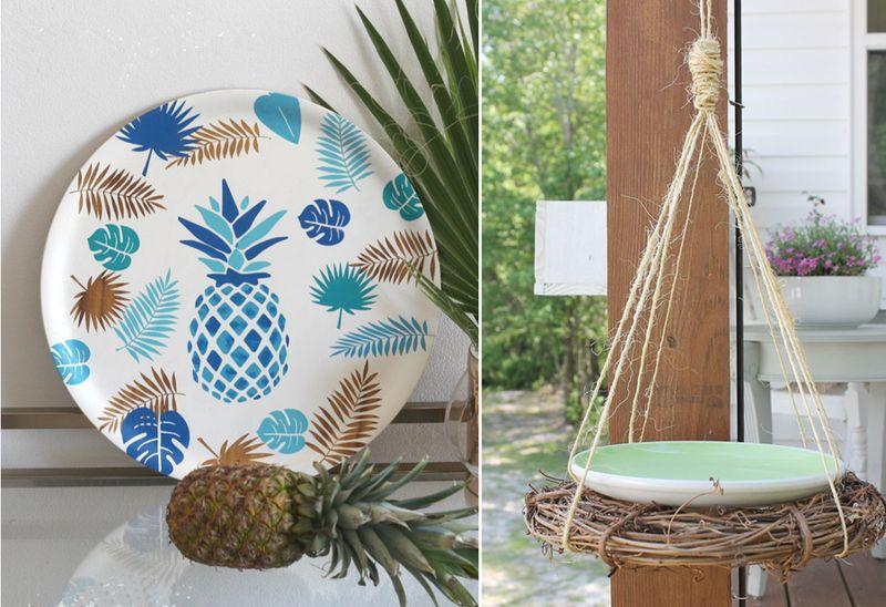 Stencilled pineapple tray,DIY birdbath