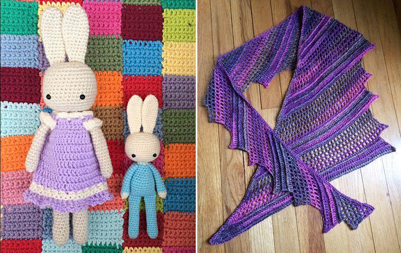 Crocheted bunnies,crocheted summer shawl