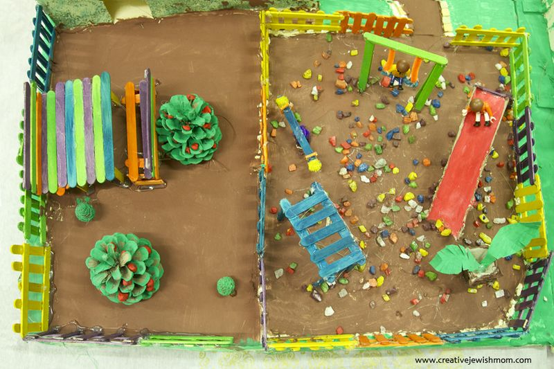 Popsicle Stick Playground With Picnic Bench
