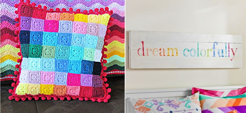 Crocheted mini squares pillow,wall art for teenager