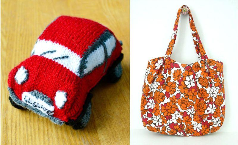 Knit mini cooper,sewn yarn bag