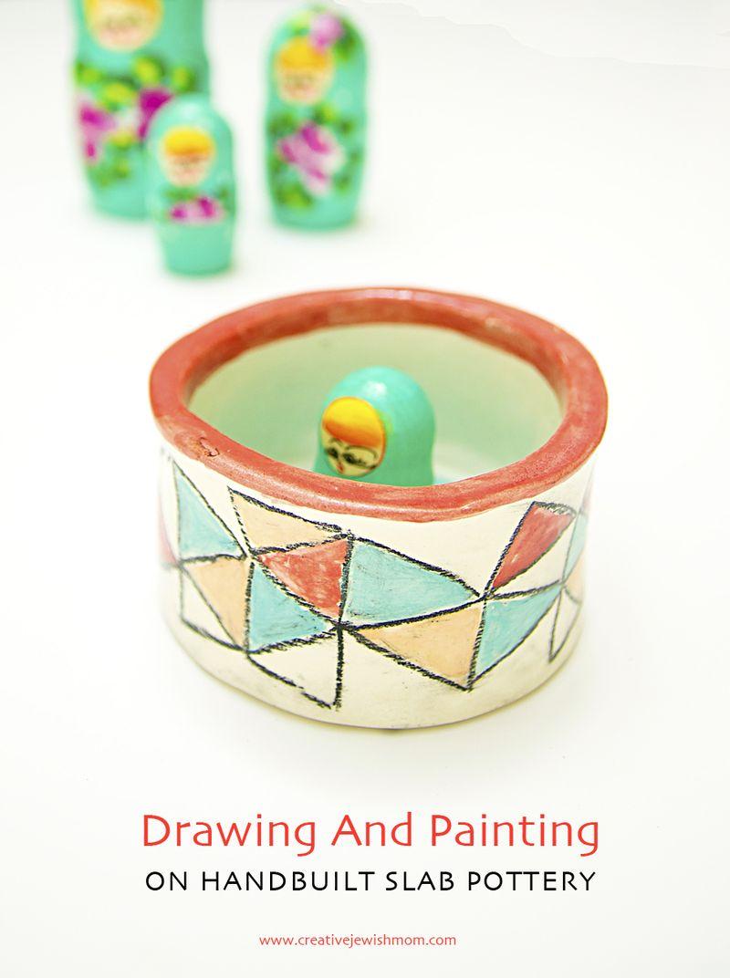 Ceramic Slab Salt Dish with Geometric Design