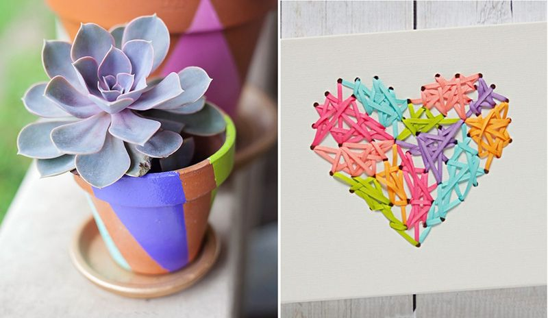 Threaded ribbon heart,painted succulent pot