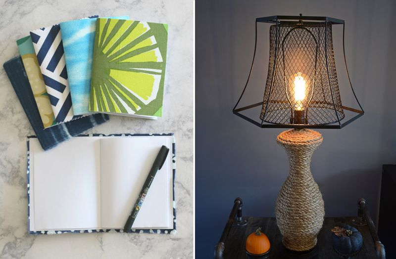 Fabric covered mini notebooks,upcycled industrial style lamp