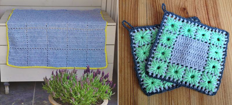 Crocheted gridded double crochet blanket,crocheted potholder