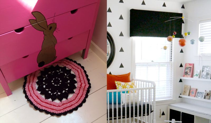 Crocheted pink and black rug, black nursery valance