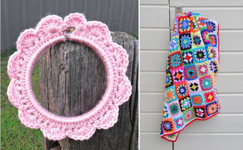 Crocheted edge embroidery hoop,colorful granny blanket