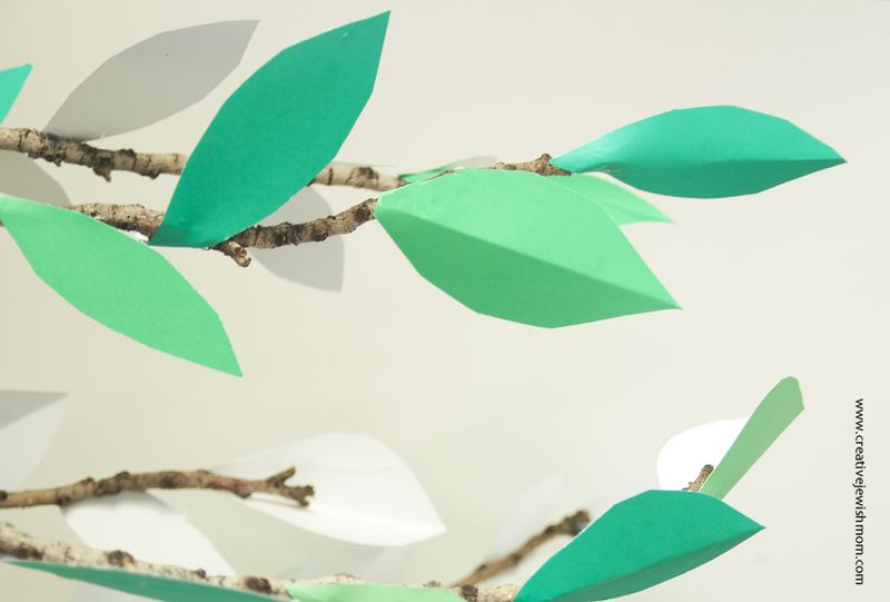 Shavuous Craft Paper Leaves On Branches
