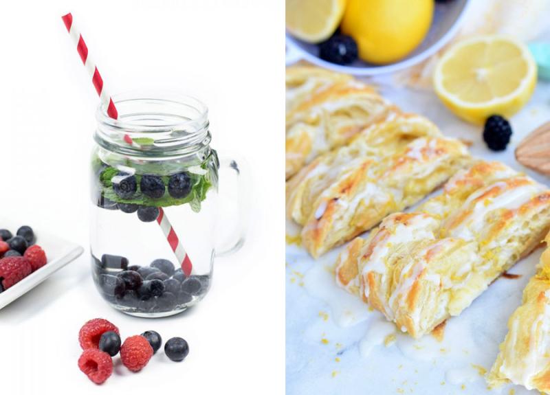 Berry infused water,lemon cream cheese danish
