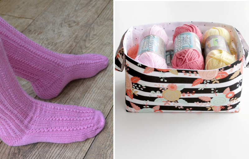 Easy DIY fabric basket,knit pink socks