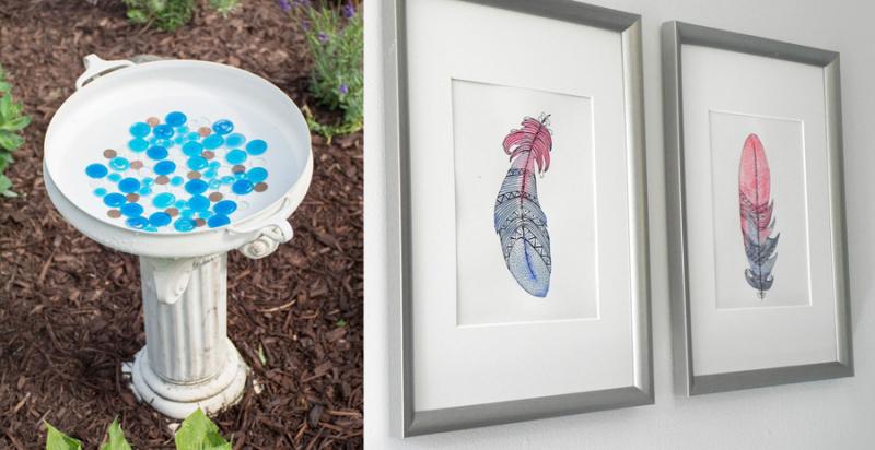Feather watercolor art tutorial,DIY bird bath