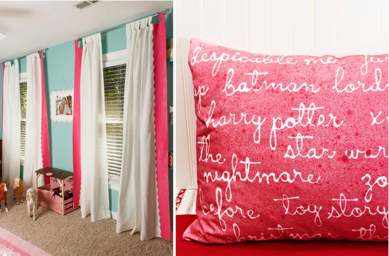 Glue gun stencil pillow,drape revamp
