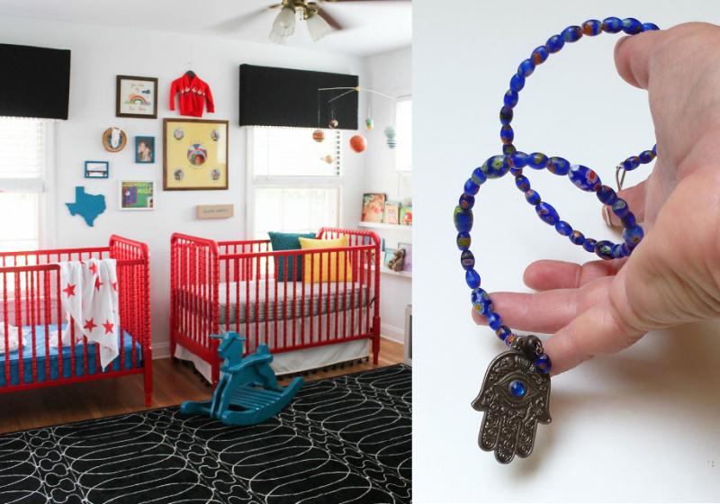 Hamsa door hanging,red cribs in nursery
