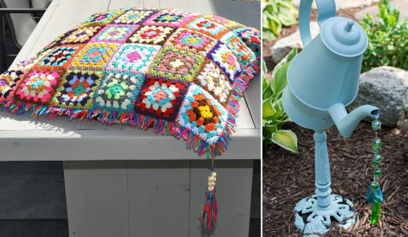 Crocheted granny square pillow, coffee pitcher garden ornament