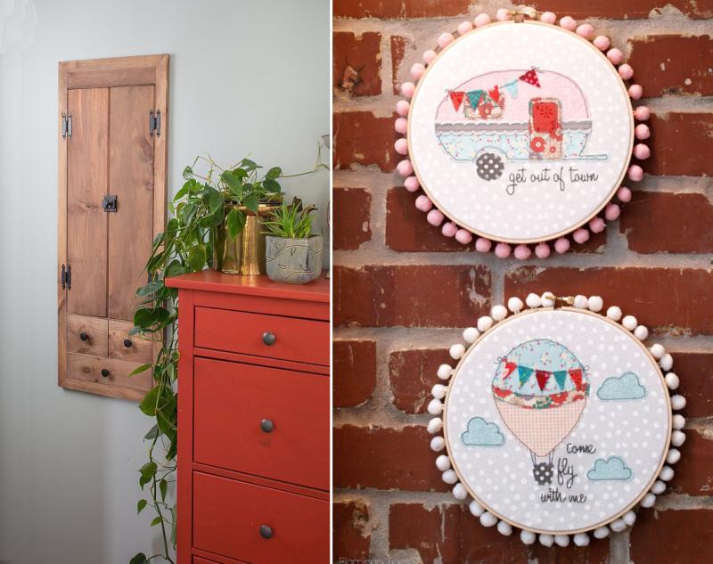 Embroidery hoop wall art,between the studs wall cabinet DIY