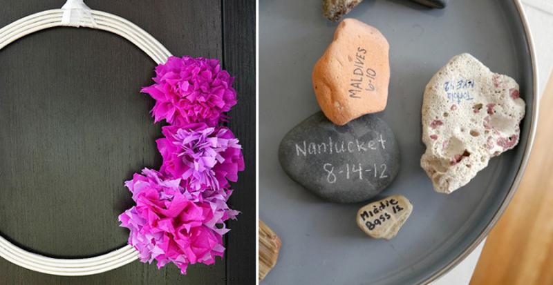 Rock Souvenirs DIY, simple tissue paper flowers