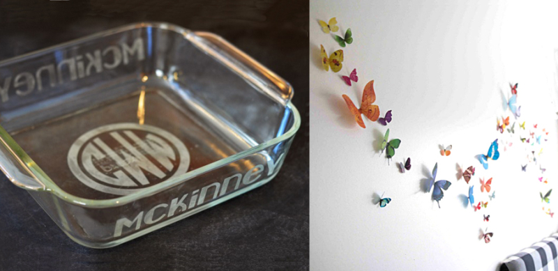 Frosted monogrammed glass casserole, butterfly wall