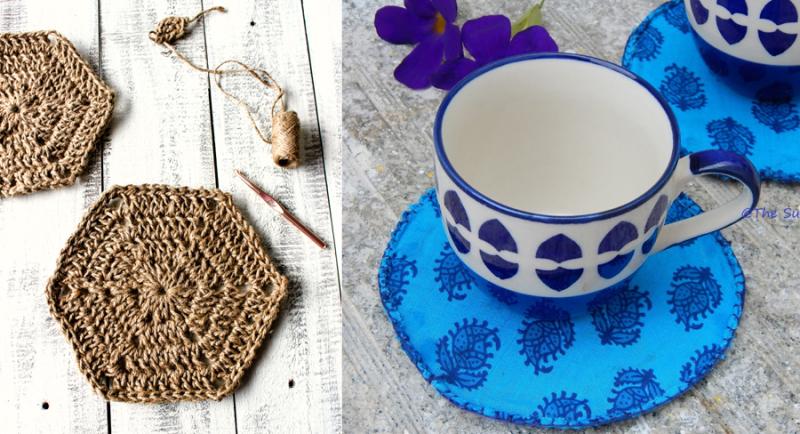 Crocheted hemp coasters,CD and fabric coasters