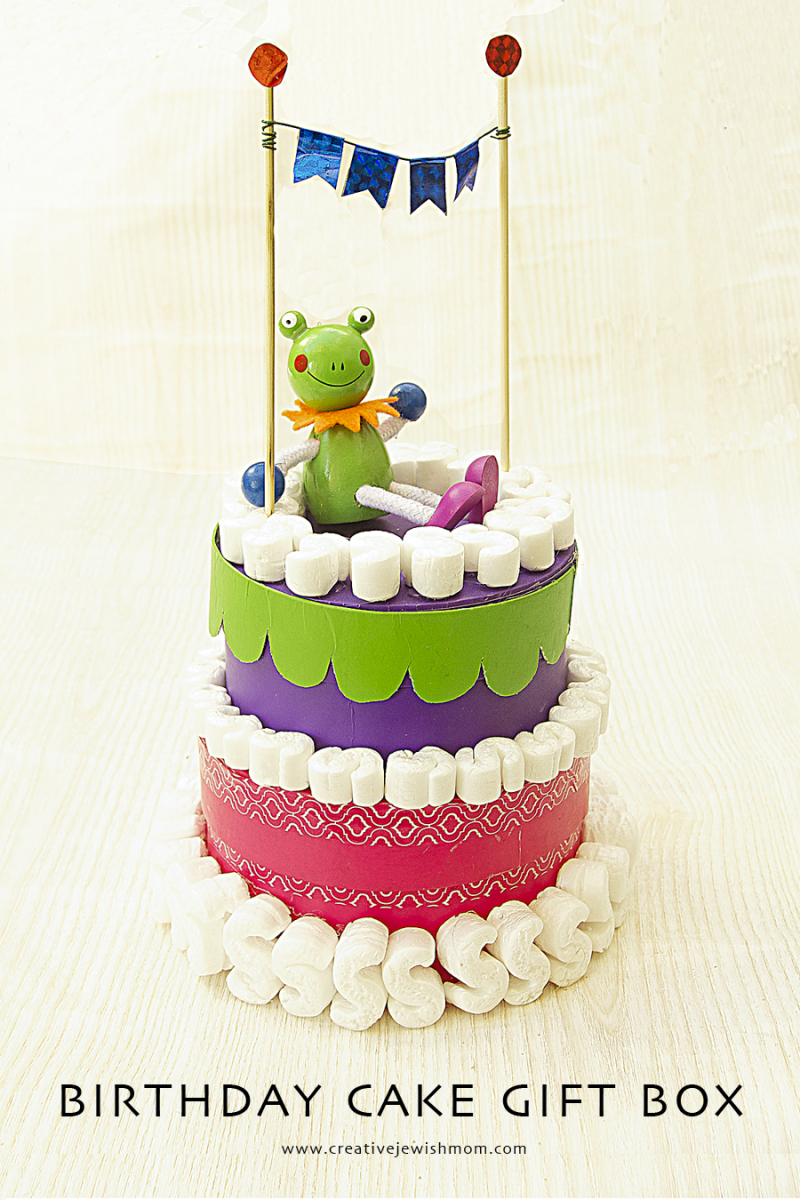 Birthday Cake Gift Box With Frog topper