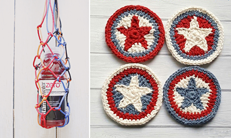 Crocheted star coasters,paracord water bottle holder