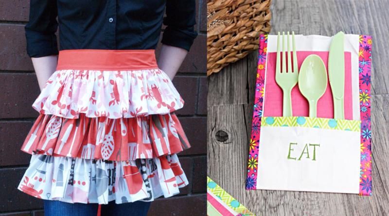 Ruffled apron,paper bag utensil holder