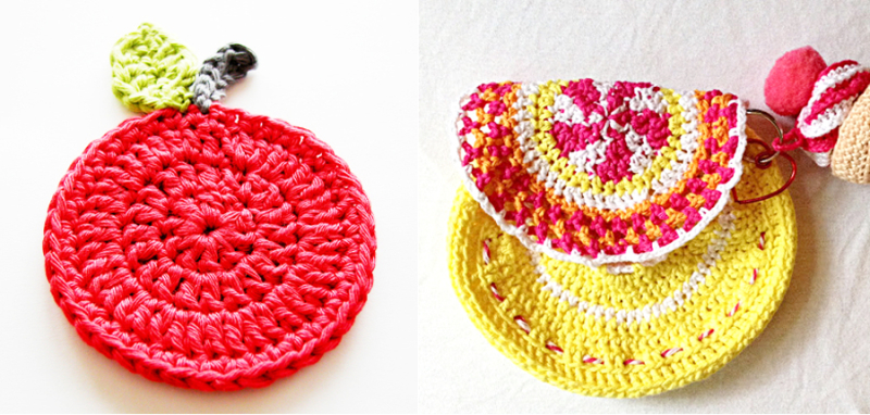 Crocheted apple coaster,crocheted mini purse with doily top