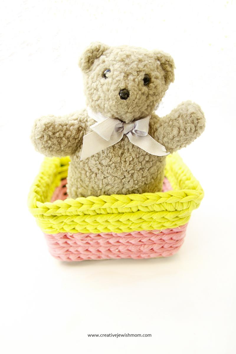 Crocheted Basket Worked Over Plastic Basket