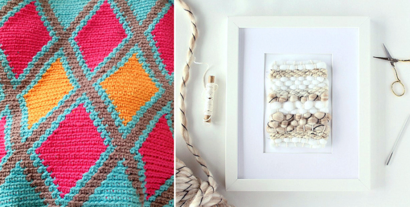 Mini weaving wall art,crocheted diamonds