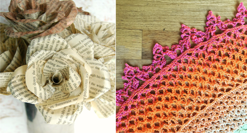 Book page roses,crocheted shawl