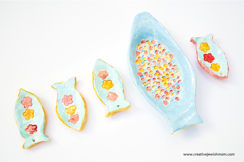 Ceramic Hand Built Fish Plate and LIttle Fishies