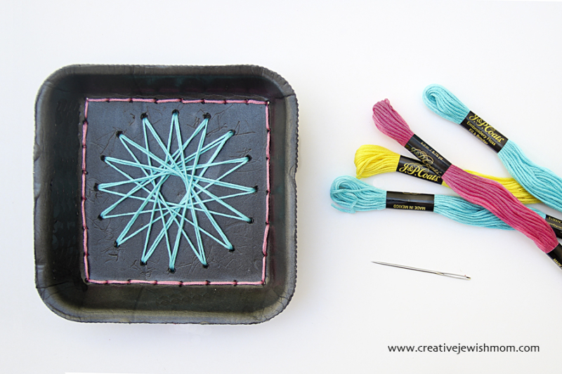 Styrofoam Tray Recycling craft for kids embroidery with geometric stars