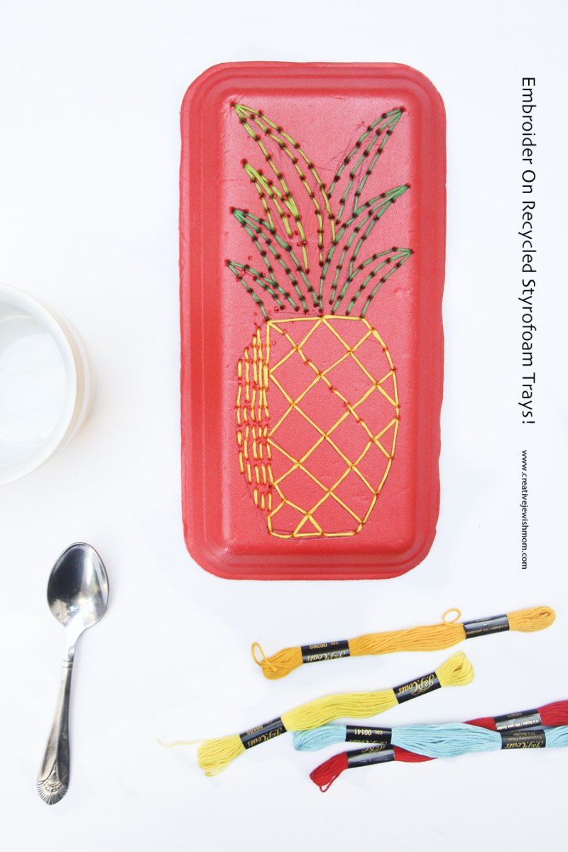 Styrofoam Tray Pineapple embroidery craft