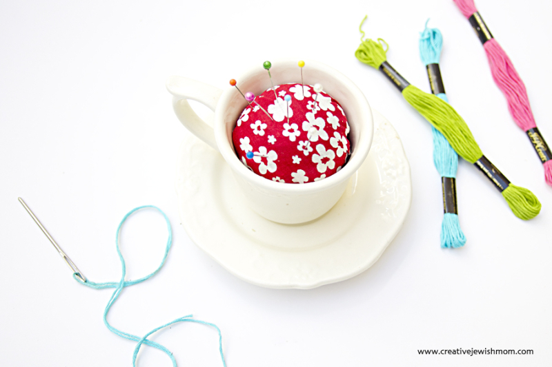 Tea Cup Pin Cushion With Embroidery Thread