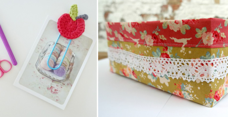 Crocheted apple paper clip,sewn fabric box