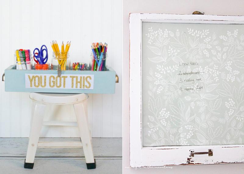 Farmhouse dry erase board,craft supplies trough