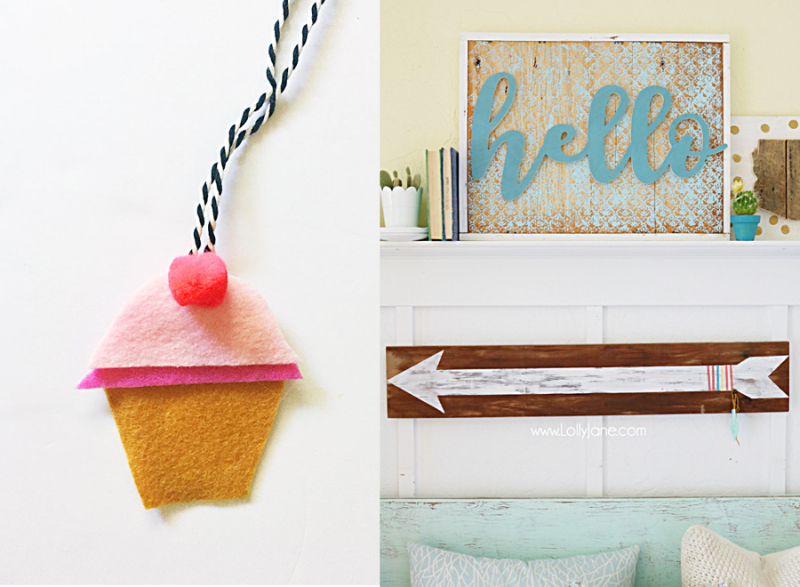 DIY car freshener with felt,wooden hello sign