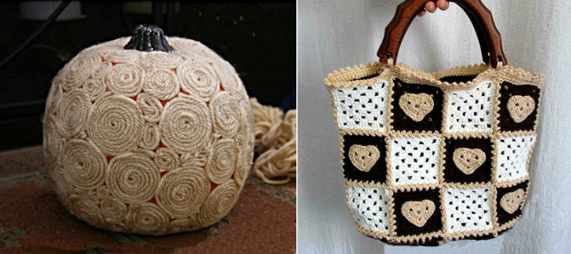 Yarn wrapped pumpkin,granny square hearts handbag