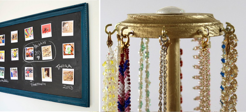 Necklace stand from paper towel holder,velcro picture gallery