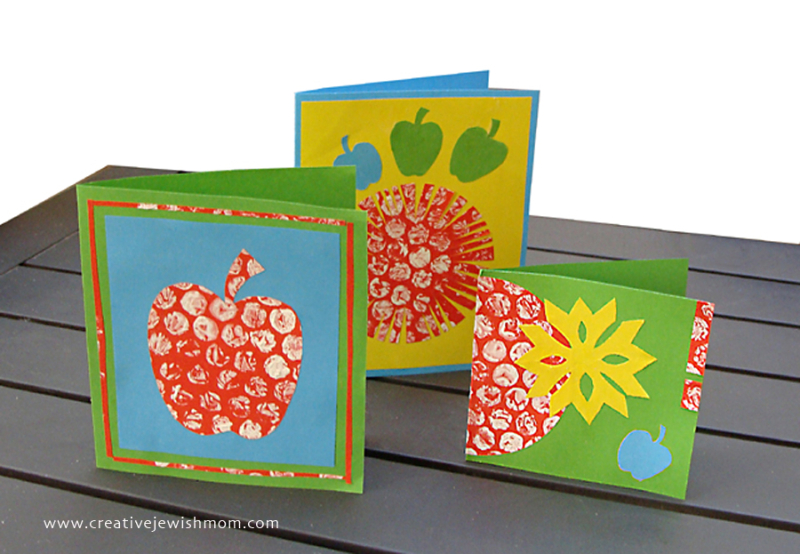 Rosh HaShana card craft with bubble wrap