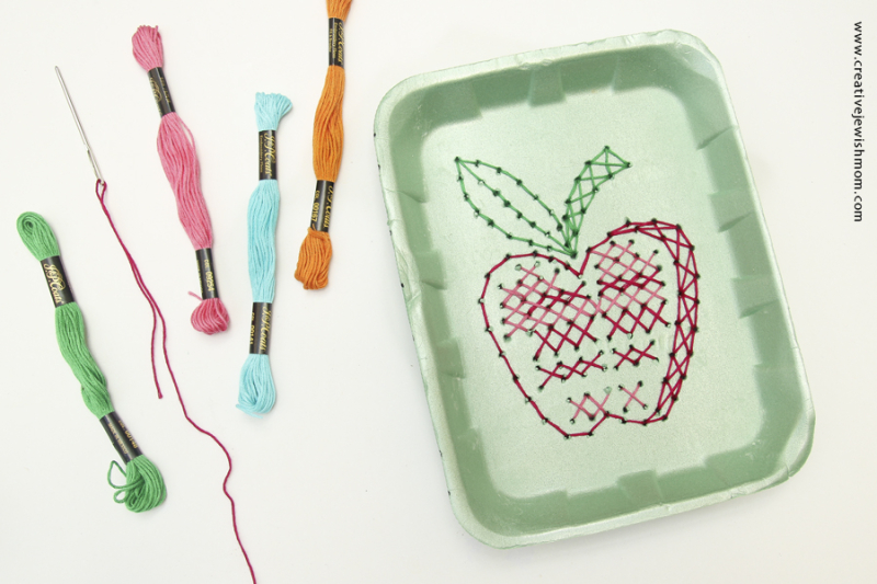 Apple Cross stitch embroidery recycling craft