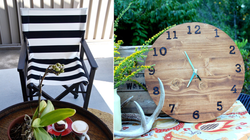 DIY canvas chair new cover,wood burned clock