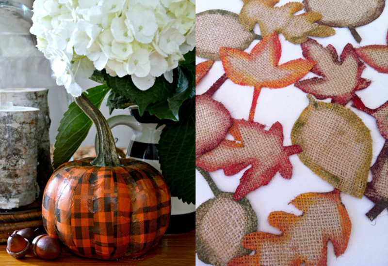 Plaid decoupage pumpkin,burlap leaves